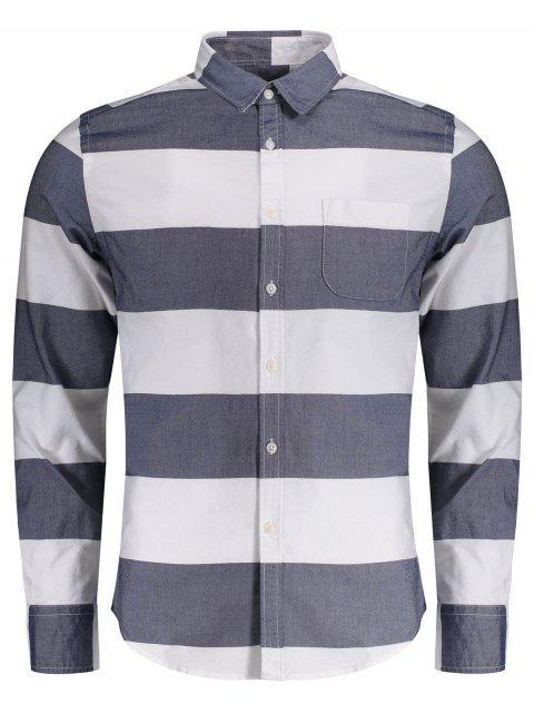 Gestreiftes einreihiges Hemd mit Tasche - Blau & Weiß 3XL Mobile