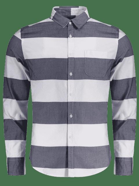 Chemise à rayures simples à poitrine - Bleu et Blanc 2XL Mobile