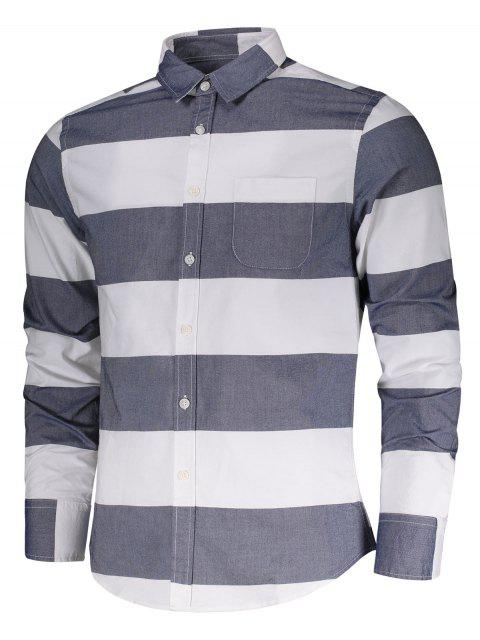 online Single Breasted Pocket Striped Shirt - BLUE AND WHITE XL Mobile
