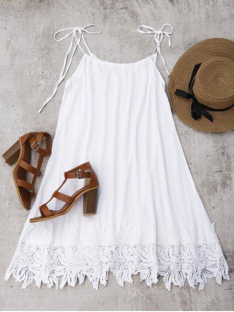 Trapeze Sonnenkleid mit Spitze Saum - Weiß M Mobile