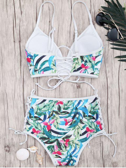 affordable Leaf Lace Up High Waisted Bikini - FLORAL L Mobile