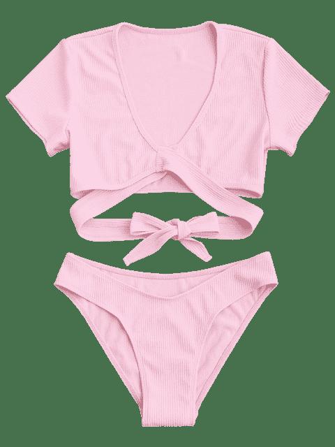 unique Knot Front High Cut Bathing Suit - PINK M Mobile