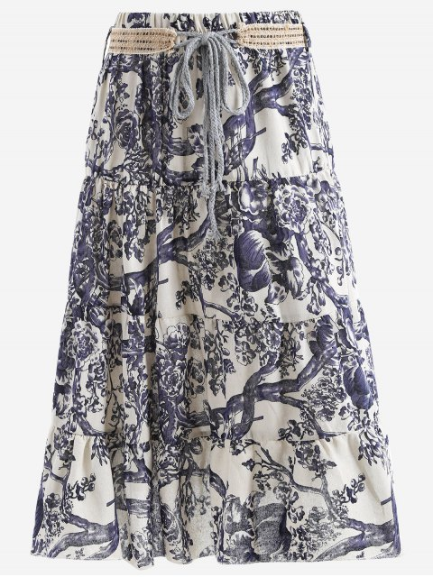 shop Belted Printed A Line Maxi Skirt - OFF-WHITE ONE SIZE Mobile