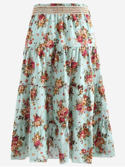 chic Belted Printed A Line Maxi Skirt - LIGHT BLUE ONE SIZE Mobile