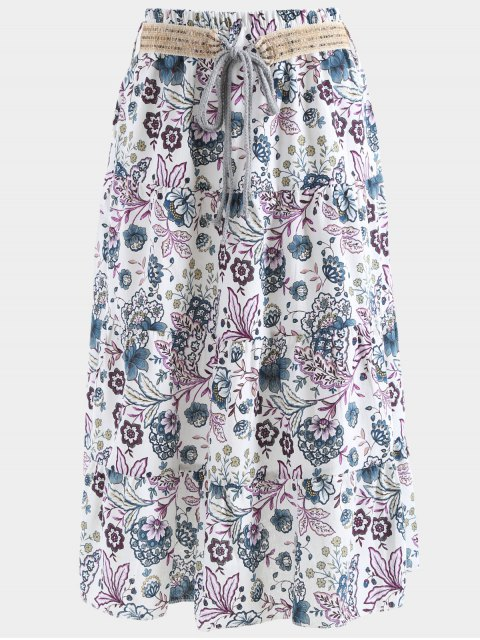 unique Belted Printed A Line Maxi Skirt - PURPLE ONE SIZE Mobile