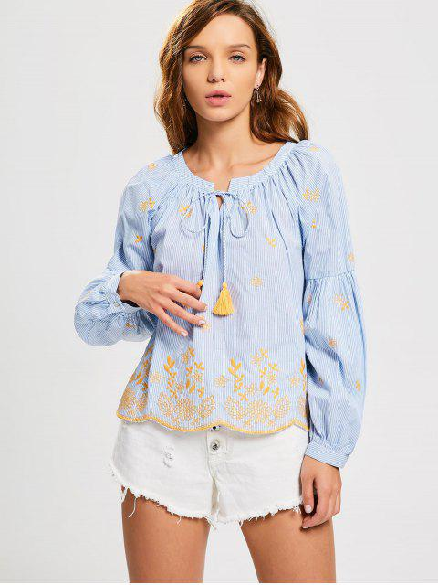 Blusa bordada rayas borlas - Raya L Mobile