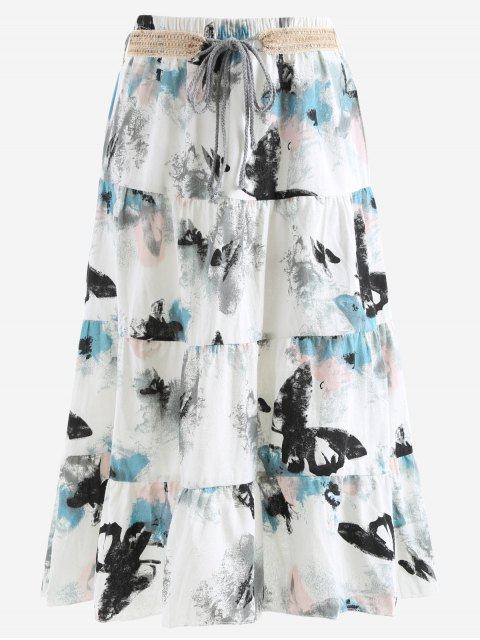 best Belted Printed A Line Maxi Skirt - LIGHT GRAY ONE SIZE Mobile