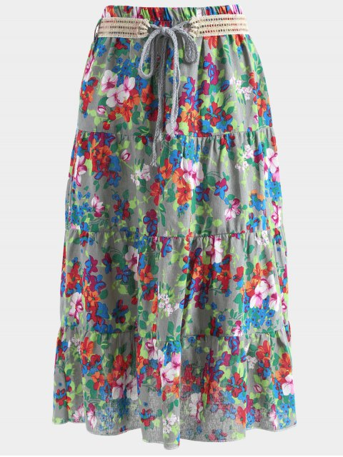 online Belted Printed A Line Maxi Skirt - DEEP GRAY ONE SIZE Mobile