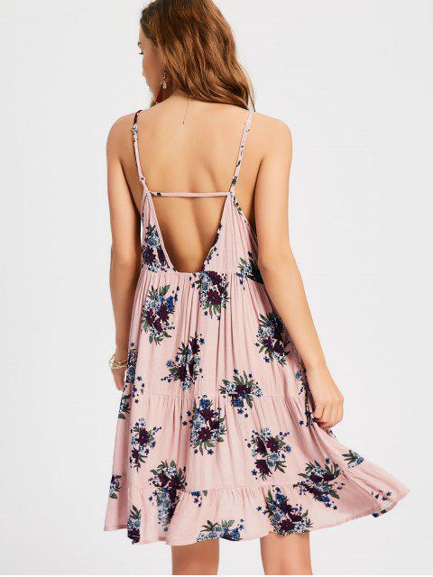 Ruffles Cut Swing Slip Dress - Rosa Desnudo S Mobile