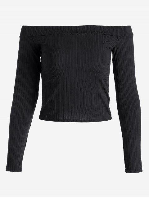 women's Ribbed Cropped Off Shoulder Top - BLACK S Mobile