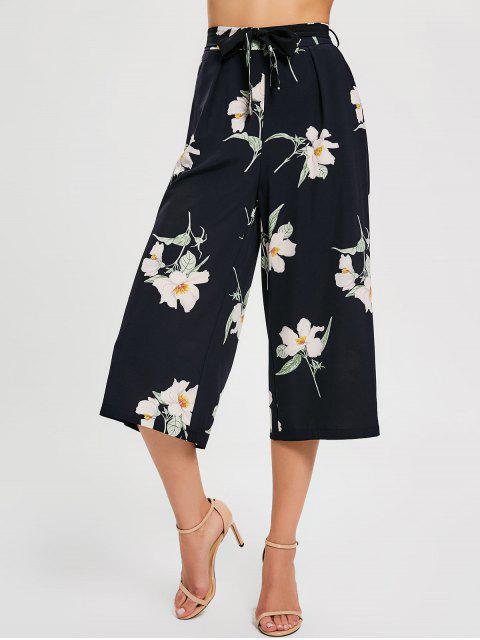 Pantalones de pantalón ancho con cinturón floral - Negro M Mobile