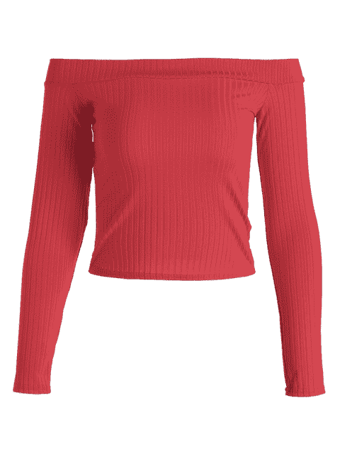 ladies Ribbed Cropped Off Shoulder Top - RED M Mobile
