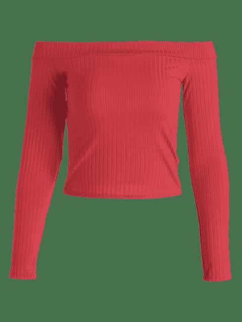 Top à épaulettes côtelées - Rouge S Mobile