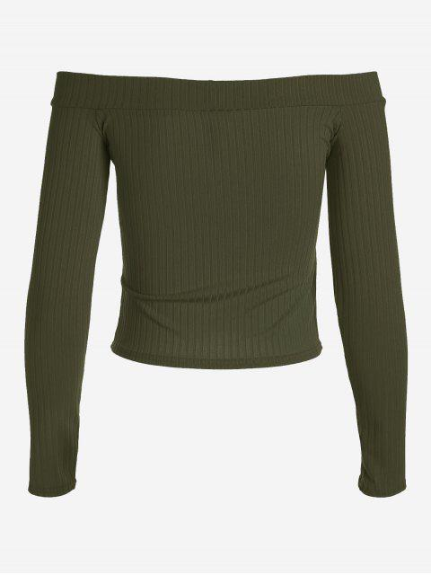 new Ribbed Cropped Off Shoulder Top - ARMY GREEN S Mobile