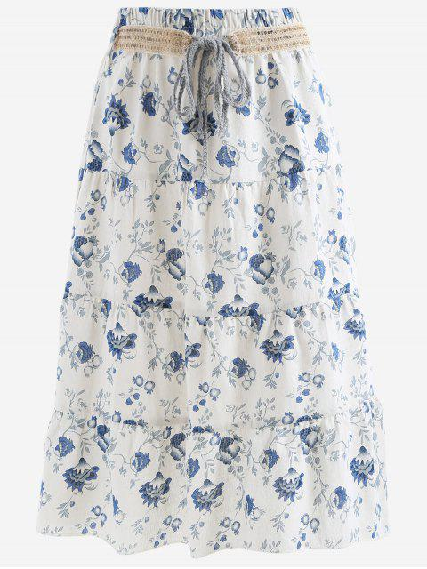 shop Belted Printed A Line Maxi Skirt - BLUE AND WHITE ONE SIZE Mobile