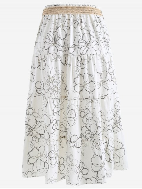 latest Belted Printed A Line Maxi Skirt - WHITE ONE SIZE Mobile