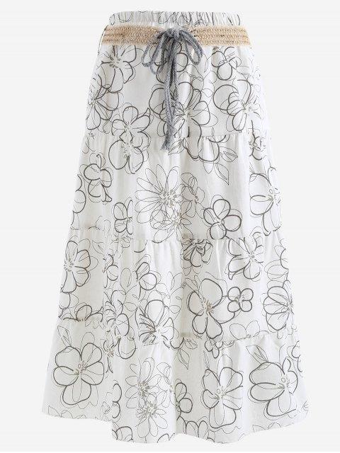 Cinturón impreso una falda maxi de línea - Blanco Única Talla Mobile
