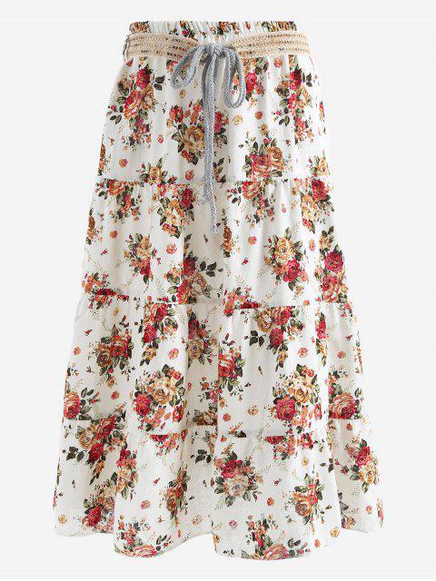Cinturón impreso una falda maxi de línea - Rojo+Blanco Única Talla Mobile