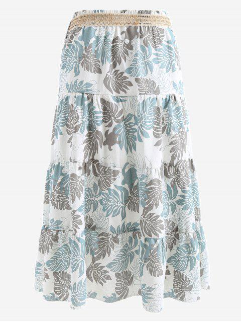 fancy Belted Printed A Line Maxi Skirt - GRAY AND BLUE ONE SIZE Mobile