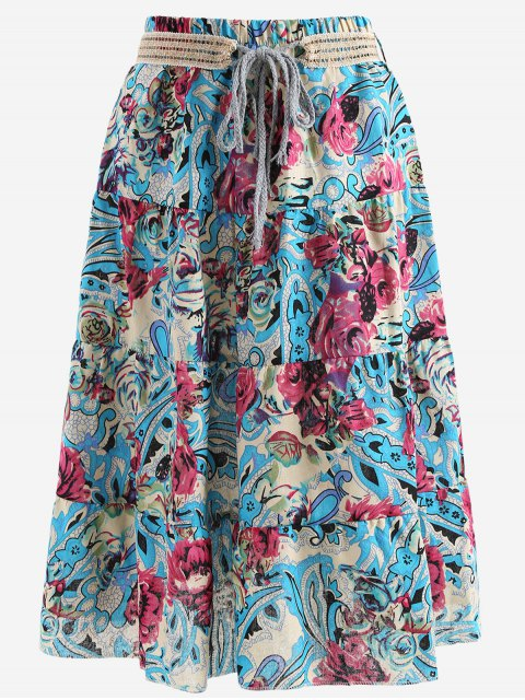 womens Belted Printed A Line Maxi Skirt - BLUE ONE SIZE Mobile
