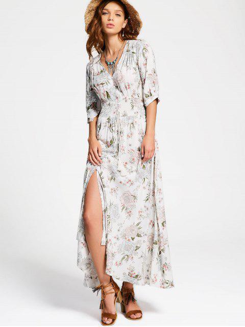 shop Floral Slit Button Up Maxi Dress - WHITE M Mobile