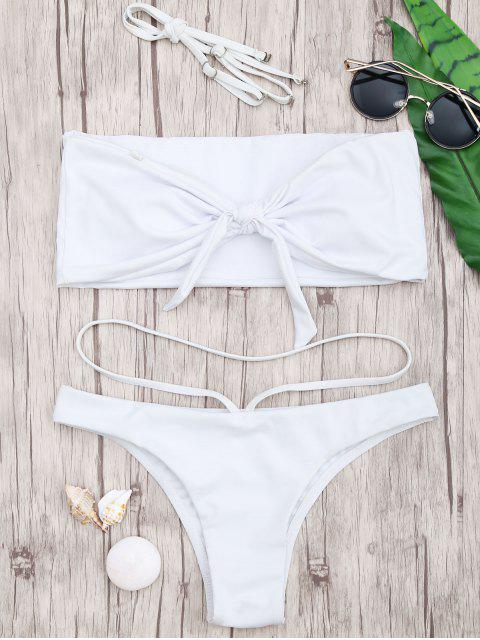 fashion Knotted Bandeau Bandage Bikini - WHITE S Mobile