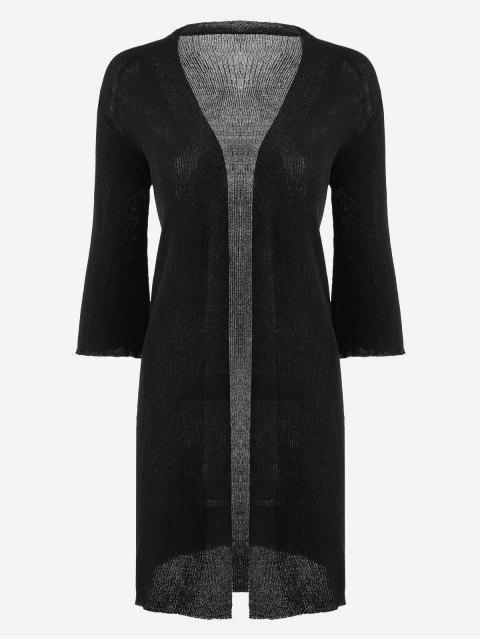 Cardigan Long Côtelé Tissé - Noir Taille Unique Mobile