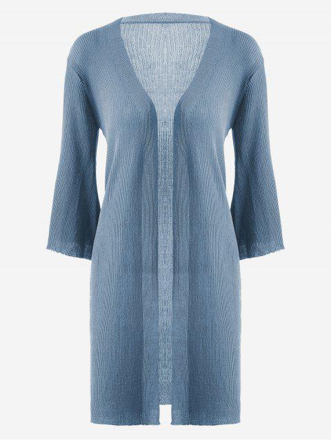 online Open Front Knitted Ribbed Cardigan - BLUE ONE SIZE Mobile