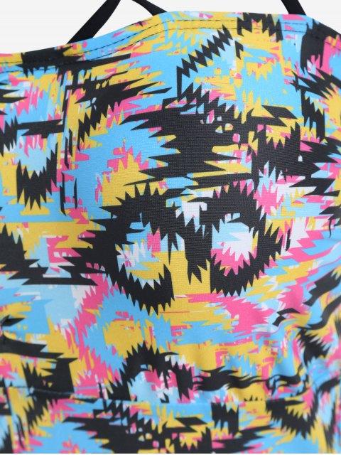 shop Colorful Printed Strappy Cutout Plus Size Swimsuit - COLORMIX 4XL Mobile