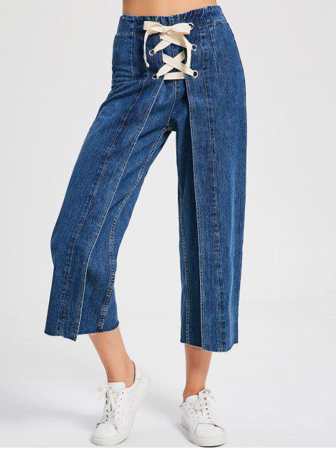 trendy Denim Lace Up Wide Leg Jeans - DENIM BLUE L Mobile