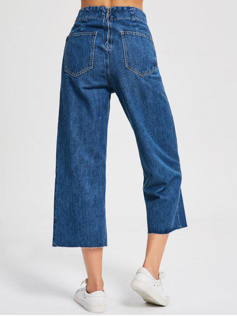 fashion Denim Lace Up Wide Leg Jeans - DENIM BLUE M Mobile