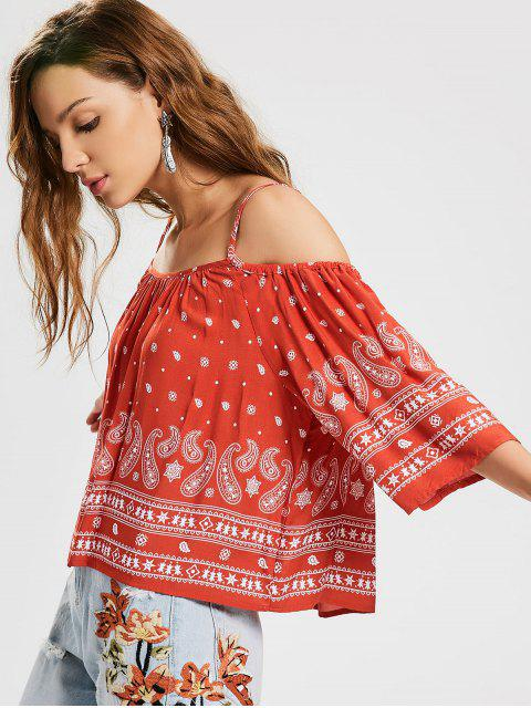 sale Loose Cold Shoulder Printed Top - RED S Mobile