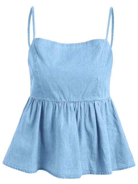 ladies Bow Tied Cut Out Tank Top - DENIM BLUE S Mobile