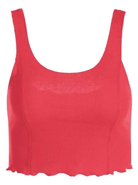 new Cropped Ruffled Ribbed Tank Top - RED ONE SIZE Mobile