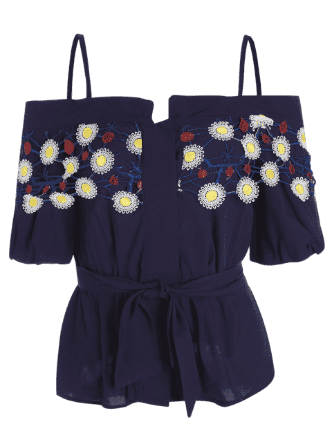 lady Embroidered Patched Ruffles Cold Shoulder Top - PURPLISH BLUE M Mobile