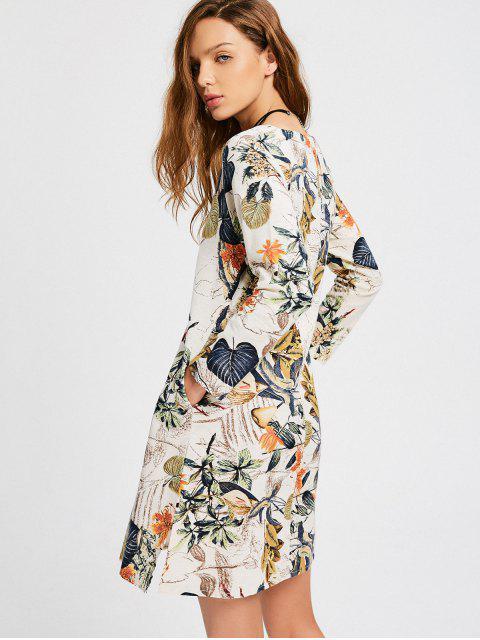 shops Leaves Print Side Slit Trapeze Dress - MULTI 2XL Mobile