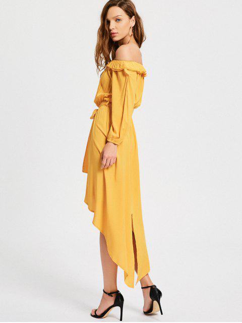 trendy Off The Shoulder Belted Asymmetric Dress - YELLOW M Mobile