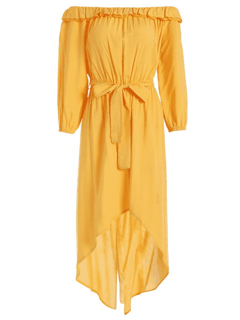 unique Off The Shoulder Belted Asymmetric Dress - YELLOW XL Mobile