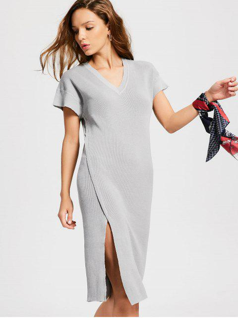 sale Knitted Slit Midi Sheath Dress - GRAY ONE SIZE Mobile