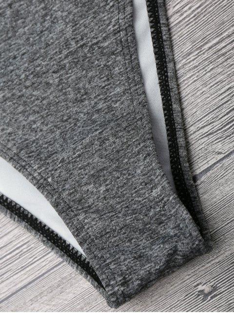 outfit Marled Contrast Trim Bikini Set - GRAY S Mobile