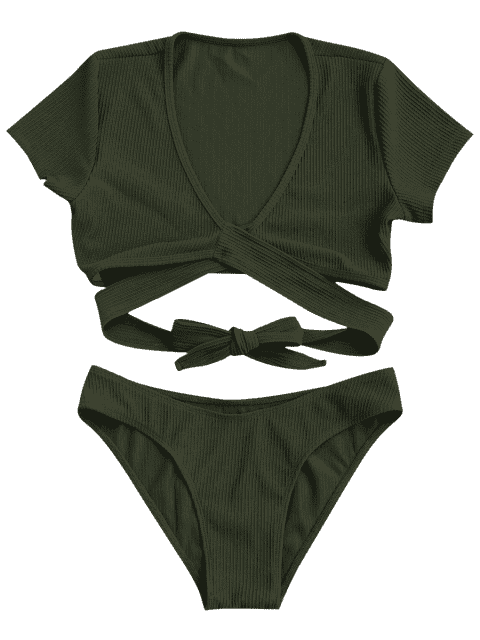 fashion Knot Front High Cut Bathing Suit - ARMY GREEN S Mobile