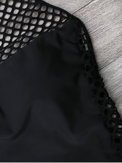women Fishnet Panel High Neck Swimsuit - BLACK S Mobile