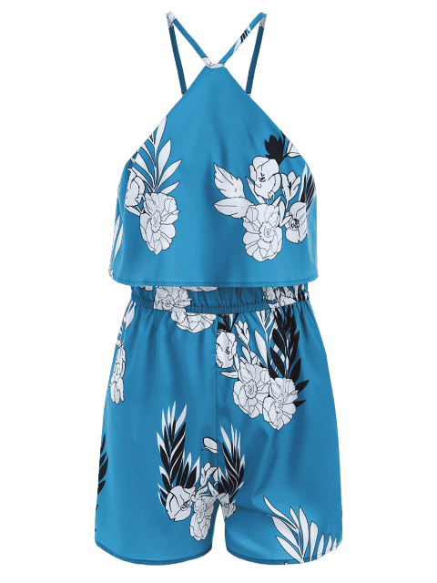 best Floral Overlay Cold Shoulder Romper - FLORAL 2XL Mobile