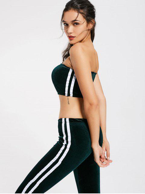 buy Striped Trim Velvet Tube Top and Flare Pants - BLACKISH GREEN S Mobile
