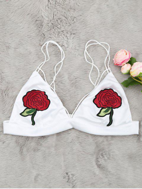 unique Flower Applique Cami Bralette - WHITE M Mobile