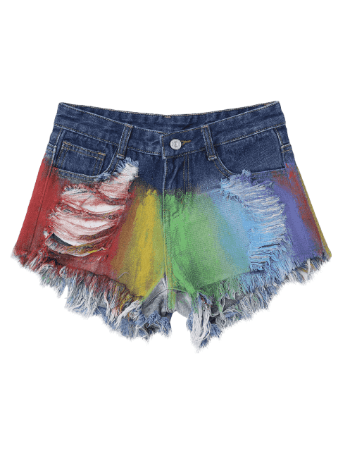 Spray Peintre Déchiré Frayed Hem Denim Shorts - Multicolore M Mobile