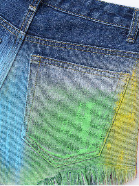 Spray Peintre Déchiré Frayed Hem Denim Shorts - Multicolore L Mobile