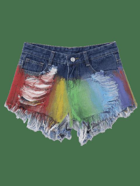 Spray Peintre Déchiré Frayed Hem Denim Shorts - Multicolore 2XL Mobile