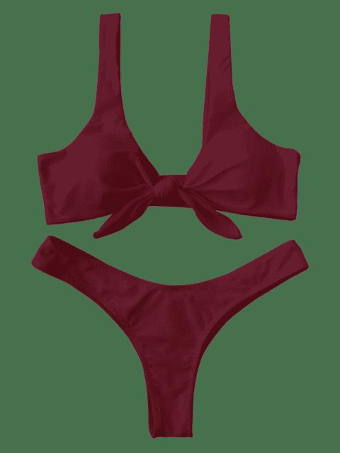 fancy Padded Knotted Thong Bikini - BURGUNDY M Mobile
