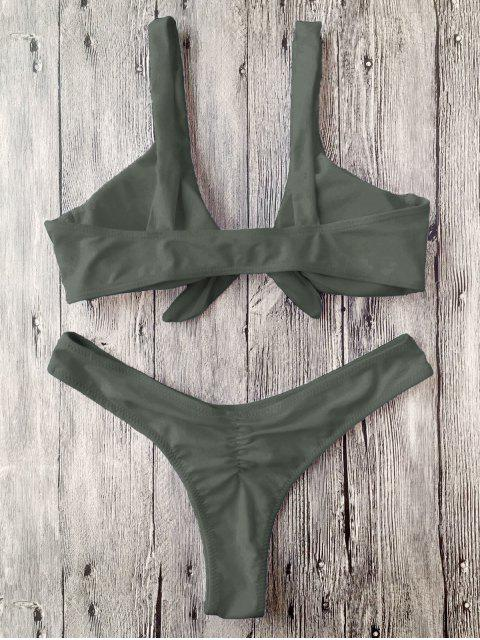 sale Padded Knotted Thong Bikini - ARMY GREEN L Mobile